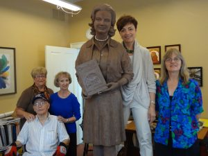 Jerrie Mock sculpture in clay, prior to foundry, with funders and sculptor.